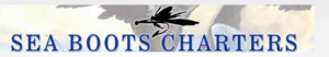 Sea Boots Charters Header Logo, with a fly on a hook. Blue Text