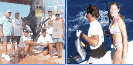 Side by side pictures of people catching fish with Seaboots Charters